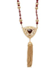 Design Lab Lord And Taylor Floral Pendant Tassel Necklace Red