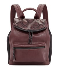 French Connection Emma Snake Embossed Flap Top Backpack Biker Berry