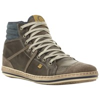 Dune Solar Eclipse Leather Hi Top Trainers Grey