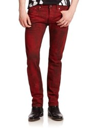 Diesel Black Gold Washed Straight Leg Jeans Red