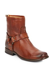 Frye Phillip Harness Leather Ankle Boots Whiskey