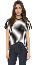 The Great. The Boxy Crew Tee Navy And Cream Striped