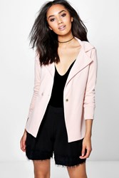 Boohoo Petite Honor Fitted Double Button Blazer Nude