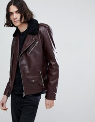Goosecraft Idaho Leather Biker Jacket With Detatchable Collar In Redwood