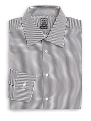 Ike Behar Regular Fit Striped Cotton Dress Shirt Granite
