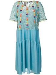 Antonio Marras Floral Embroidered Flared Dress Silk Polyester Cupro Viscose Blue