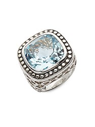 John Hardy Blue Topaz 18K Yellow Gold And Sterling Silver Ring