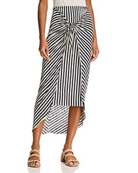 Splendid X Margherita Tie Front Striped Sarong Skirt Natural Navy
