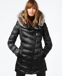 Rachel Rachel Roy Faux Fur Trim Asymmetrical Puffer Coat