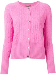 N.Peal Cropped Cable Cardigan Pink Purple