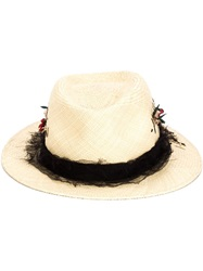 Maison Michel 'Andre' Distressed Hat Nude And Neutrals