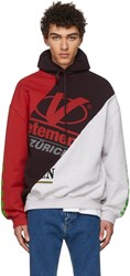 Vetements Grey And Red Cut Up Hoodie