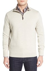 Men's Thomas Dean Regular Fit Quarter Zip Merino Wool Sweater Oat