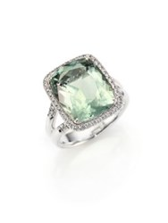John Hardy Classic Chain Diamond Prasiolite And Sterling Silver Ring Silver Green Amethyst