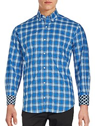 Tailorbyrd Long Sleeve Cotton Check Shirt Royal