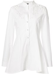 Josie Natori Embroidered Peplum Shirt White
