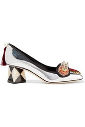 Dolce And Gabbana Woman Embellished Mirrored Leather Pumps Silver