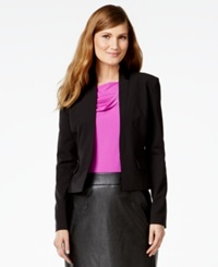 Calvin Klein Faux Leather Trim Tuxedo Blazer Black
