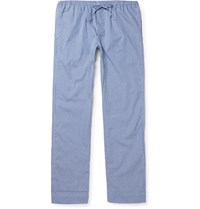 Zimmerli Gingham Cotton Jacquard Lounge Trousers Blue