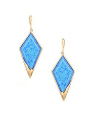 Lana Electrifying Opal Hematite Doublet And 14K Yellow Gold Kite Earrings Gold Opal