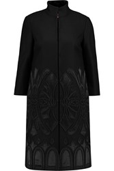 Tory Burch Felicity Embellished Wool Coat Black