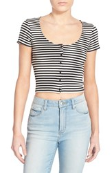 Junior Women's Bp. Stripe Scoop Neck Crop Top Black Sara Stripe