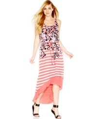 Kensie Floral Striped High Low Dress Coral Tang White Combo