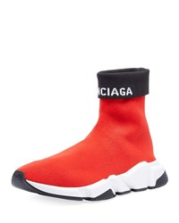 Balenciaga Speed High Top Fold Over Sock Sneakers Red