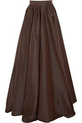 Jenny Packham Silk Taffeta Maxi Skirt Brown