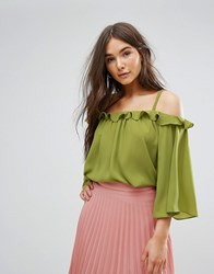 Traffic People Off The Shoulder 3 4 Sleeve Top Green