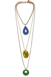 Rosantica Agata Set Of Three Gold Tone Agate Necklaces One Size