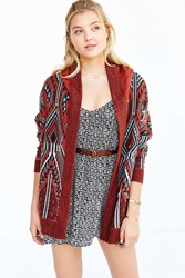 Ecote Arianna Patterned Cardigan Red