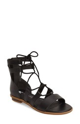 Women's Bc Footwear 'Pocket Size' Lace Up Flat Sandal Black Faux Leather