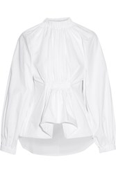 Ellery Echo Gathered Cotton Jacquard Shirt White