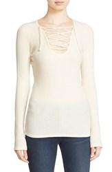 Autumn Cashmere Women's Ribbed Lace Up Top