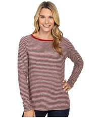 Jag Jeans Brier Stripe Tee Classic Fit Shirt Striped Jersey Medium Heather Rubaiyat Women's T Shirt Brown