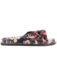Etro Embroidered Open Toe Sandals Silk Leather Black