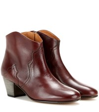 Isabel Marant Etoile Dicker Leather Ankle Boots Brown