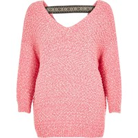 River Island Womens Bright Pink Slouchy Sweater