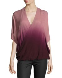 Young Fabulous And Broke Wrap Front Ombre Top Burgundy