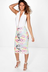 Boohoo Bright Floral Bodycon Midi Skirt Multi
