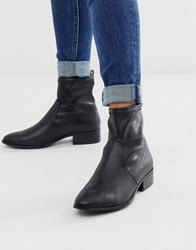 Aldo Erigori Strech Leather Ankle Flat Boot Black