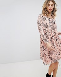 Maison Scotch Printed Oversized Dress With Lace Up Detail Pink