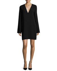 Theory Ulyssa Admiral Crepe V Neck Shift Dress Black