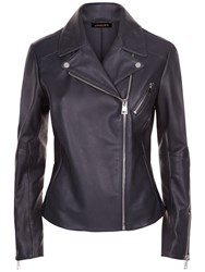 Jaeger Leather Biker Jacket Midnight