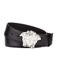 Versace Leather Medusa Buckle Belt Black Silver