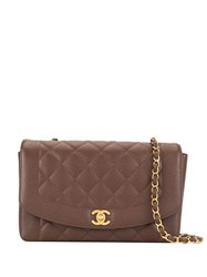 Chanel Vintage Diana Quilted Chain Shoulder Bag Brown