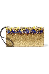 Marni Embellished Glittered Leather Clutch Gold