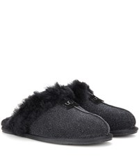 Ugg Scuffette Ii Shearling Lined Suede Slippers Black
