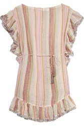 Zimmermann Tropicale Fringed Striped Cotton Blend Dress Ecru